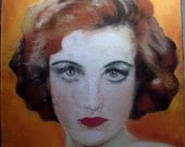RESERVED FOR HOTVINTAGE Gorgeous 1940's Pastel Painting of a Beautiful Woman Art Portrait Hollywood Glamour