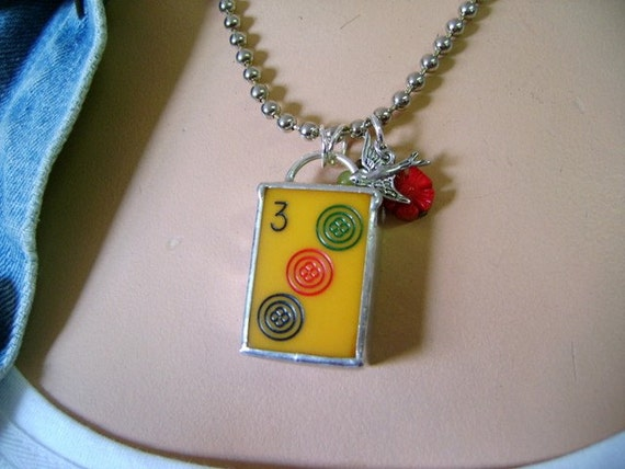Vintage MahJong Tile Necklace