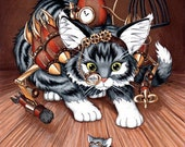 Mouser Enhanced Limited Edition Print - MATTED Gold/Cream - Steampunk cat/mouse