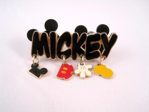 Vintage signed Disney Mickey pin lapel brooch