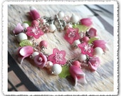 Sweet Spring // Hand Sculpted Flowers Roses and Tulips Charm Bracelet