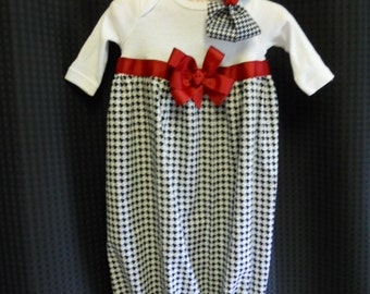 Ready to ship Boutique Houndstooth Infant Girls Layette set Perfect for that true Alabama Fan