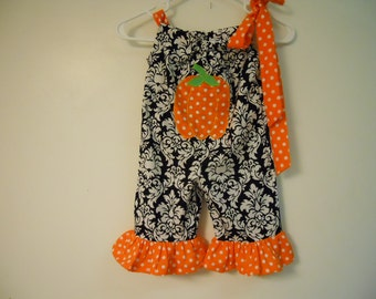 Boutique Pumpkin girls romper sizes 3 months-3t soo cute great for fall