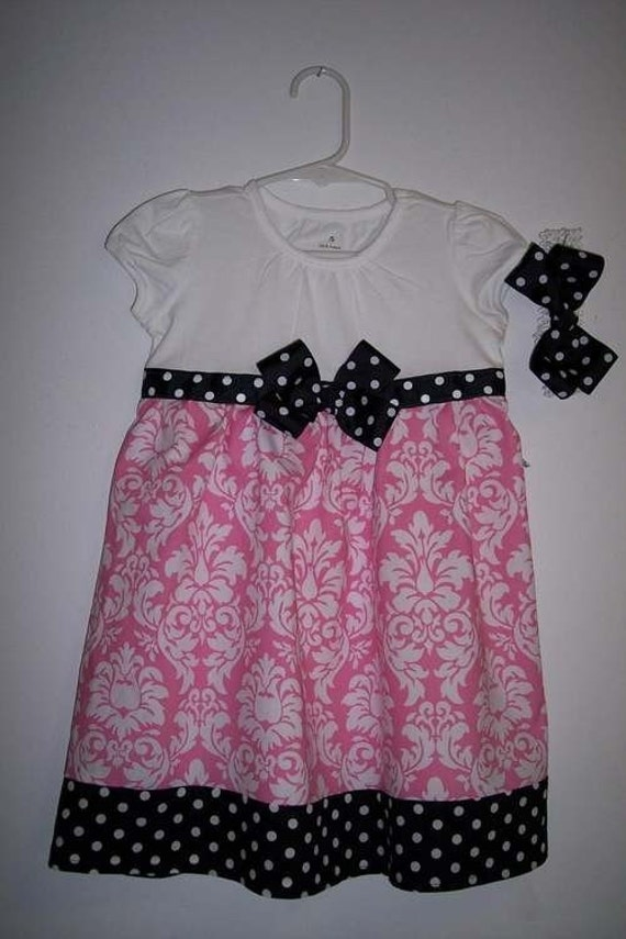 BOUTIQUE GIRLS PINK DAMASK SWING DRESS SIZES 12 MONTH-5T MICHEAL MILLER