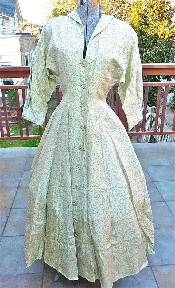 Vintage Late 1940s Hostess Party Gown Dramatic Cinch Waist New Look Dress I. Magnin Label