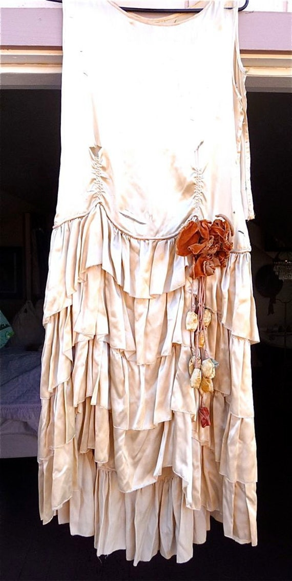Antique 1920s Vintage Flapper Wedding Dress Ivory Silk Ruffles