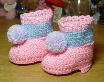 High Top Crochet Girl Baby Booties Boots Pink and Blue with Pom Poms Baby Shower Gift