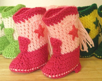 Western Cowboy Baby Booties Boots Crochet Shocking Pink and Pink with Shocking Pink Stars Baby Shower Gift