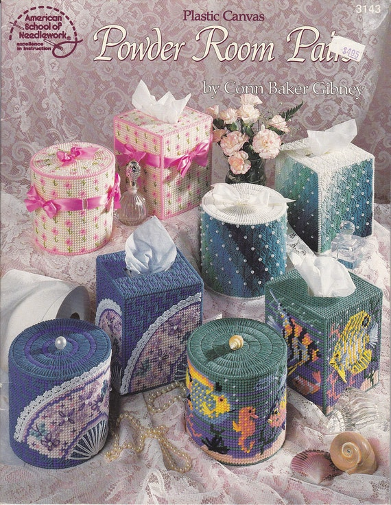 Tissue Box And Toilet Paper Covers In Plastic Canvas Pattern