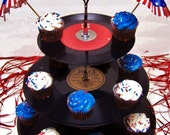 Retro Vintage 50's Record Dessert 3 Tier Pedestal Cake Cupcake Stand Recycle Great for Wedding Birthday Graduation Party Lets Rock