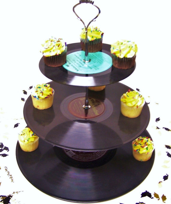 Custom Order Retro Vintage Record Dessert 3 Tier Pedestal Cupcake Stand Upcycle Birthday Party Rock Around The Clock Lets Rock & Roll