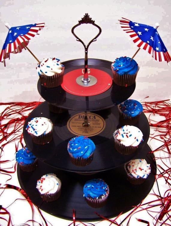 Retro Vintage 50 S Record Dessert 3 Tier Pedestal Cake