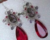 Cruella De Vil - 101 Dalmatians - Ruby Quartz,Royal Moss Amethyst, Rhodolite Garnet, Pink Amethyst, Gray Quartz, Sterling silver