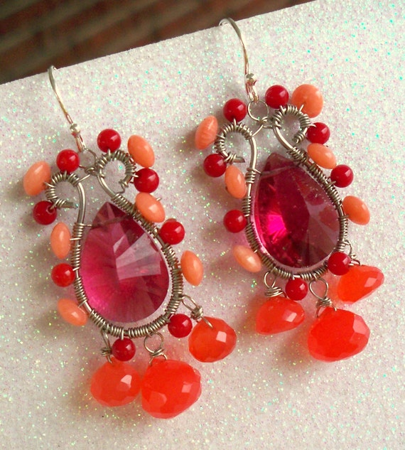 RESERVED - Coralista - featuring - Coral, Red Coral, Raspberry Quartz, Coral Chalcedony, Sterling Silver