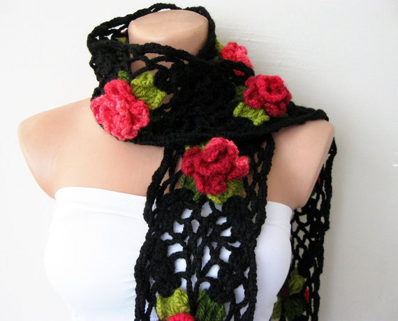 Hand Crochet Black Lariat Scarf with Red Flowers with green leaves