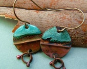 rustic enameled aqua fold formed copper primitive salvage metal disc earrings
