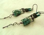 GHOST NET - edgy gritty tribal post apocalyptic rustic environment statement salvaged aqua gemstone earrings