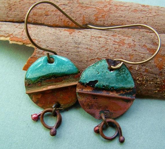 rustic enameled aqua fold formed copper primitive salvage metal disc earrings