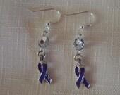 Earrings Awareness Purple Ribbon by madeforUjewelry on Etsy