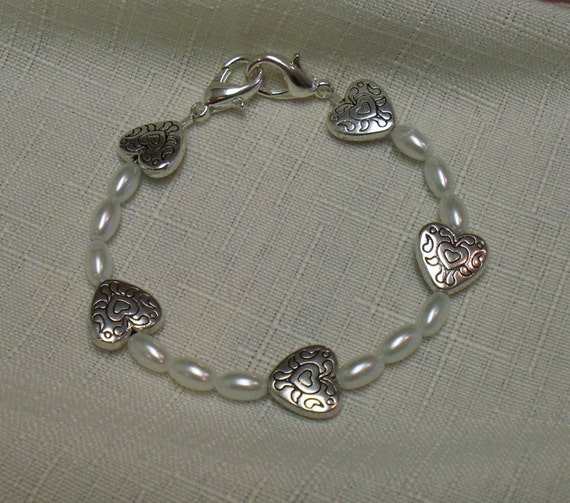 Medical ID Alert Allergy Emergency Replacement Bracelet or Watchband Pearls and Hearts by MadeforUjewelry on Etsy.