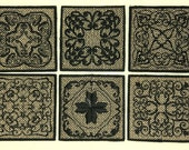 GOLD and BLACK ELEGANCE - Embroidered Scroll Design - TWO DOILIES or COASTERS - 3.5 inches square