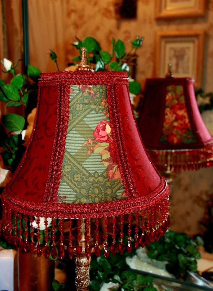 lamp shade damask deep rich red panel green pattern with. Black Bedroom Furniture Sets. Home Design Ideas