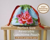 Drawstring Pouch | Bag Sewing Pattern And Tutorial | Perfect Size Reversible Lunchtime Pouch