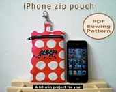 Easy iPhone Zip Pouch INSTANT DOWNLOAD - PDF Sewing Pattern And Tutorial