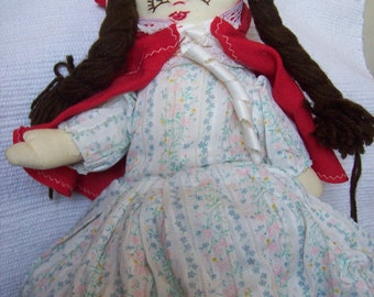 Handmade vintage collectable 3in1 rag doll. red riding hood .