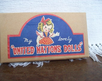 Vintage, souvenir set of  My Lovely United Nations Doll.s