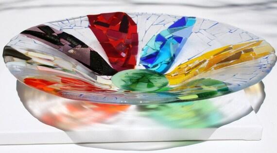 Large mosaic fused glass flower bowl