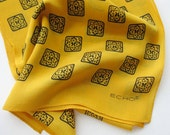 Vintage silk Scarf by Echo yellow and black oblong