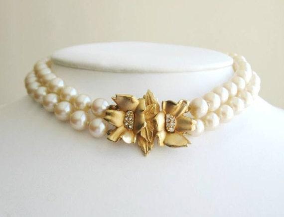 Vintage jeweled pearl choker signed Richelieu