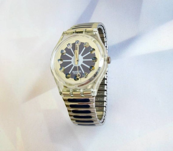 Vintage Swatch watch Blue Segment 1992 Metal bracelet New Battery