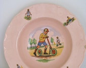 RESERVED - Vintage Dish Peach Petal Grindley with decal of children playing shabby chic