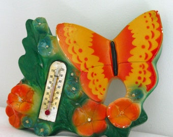 50s Miller Studio Chalkware Butterfly Thermometer