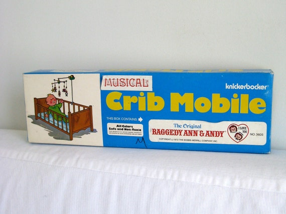 RESERVED - Vintage musical mobile crib baby Raggedy Ann and Andy in original box
