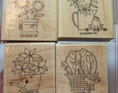 Stampin' Up  A Flower for All Seasons set of 4 rubber stamps (retired set, lightly used)