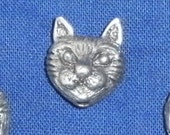 Anything from Cute to Creepy - Pewter Cat Head Beads, Set of 5 (1\/2 in. each)