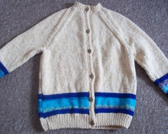 Adult Size Vintage Look Retro Look Chunky Hand Knitted Cardigan