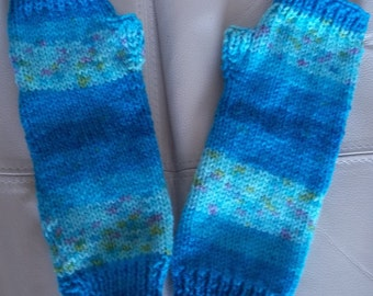 Handwarmers Double Knit in Wonder Yarn Blues Turquoises Hand Knitted