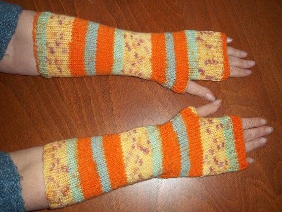 Wonder Knit Self Patterning Wool : Hand Knitted Armwarmers In Wonder Knit Self Patterning Orange
