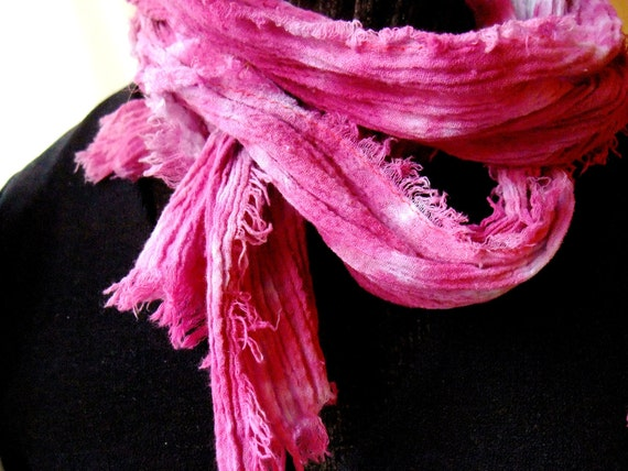 Pink Passion Hand Dyed Cotton Crinkle Gauze Long Skinny Scarf