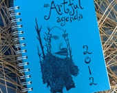 CLEARANCE 2012 blue monster planner by An Artful Agenda- with hand-drawn images for each day of the year