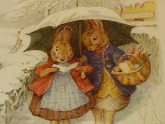 Beatrix Potter Illustration - Bunnies - Double sided Color Lithograph