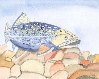 Even Troutbums get the Blues greeting card from original watercolor