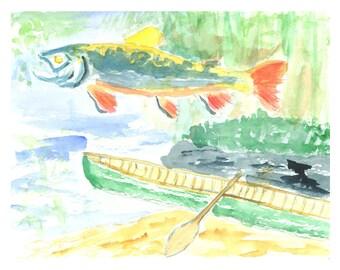 Adirondack Dreaming original watercolor greeting card