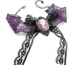 Saint Lydia - A BEAUTIFUL NEO VICTORIAN CAMEO CHOKER with PURPLE and BLACK VINTAGE LACE RIBBON - LOTS of SPARKLE - GhostLove EXCLUSIVE DESIGN