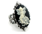 SALE Was 35.00 - Gothic Ring - Dream Fairy Cameo Ring in Cream on Black with Sterling SIlver Plated Filigree - By Ghostlove