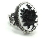 Gothic Mourning Ring - with Cameo Rose Photo Locket and Silver Plated Filigree Band in Black on White - By Ghostlove